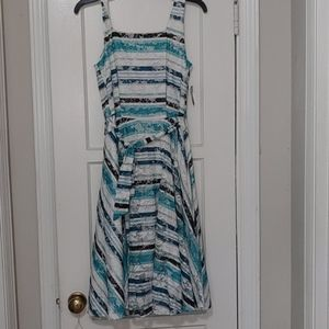 Tank Top Blue and White Striped Lace Dress